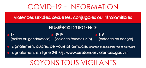 Coronavirus - Covid 19 : Violences intra-familiales